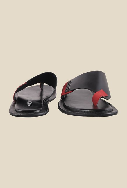 Mochi Black & Red Casual Sandals