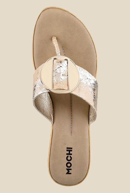Mochi Beige & Golden T-Strap Wedges