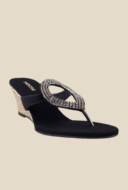 Mochi Black Wedge Heeled Thong Sandals