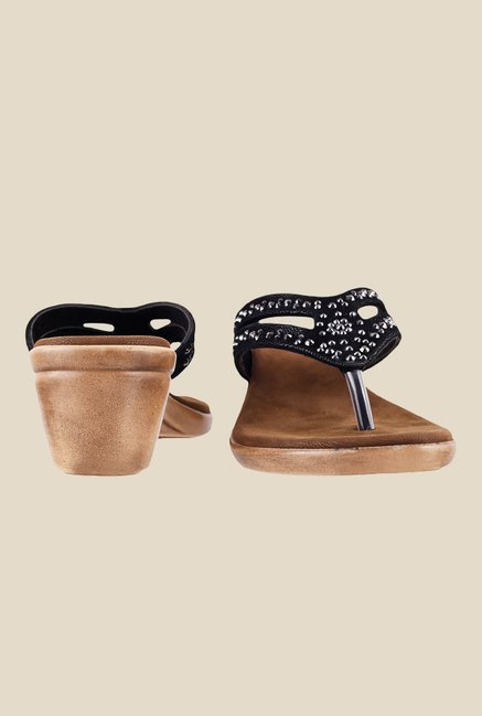 Metro Black Slide Wedge Sandals