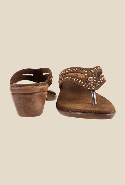 Metro Brown Thong Wedges