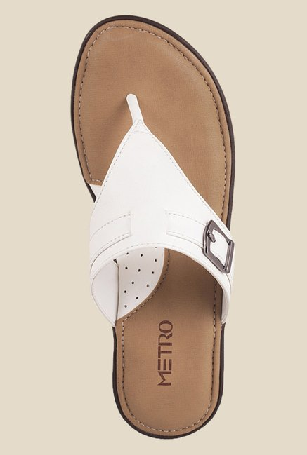 Metro White Wedge Heeled Thong Sandals
