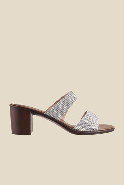 Metro Grey Block Heeled Sandals
