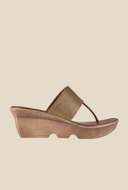 Mochi Antique Gold T-Strap Wedges