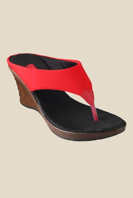 Metro Red Wedge Heeled Thong Sandals