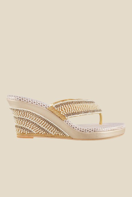 Haute Diva by Mochi Antique Gold Ankle Strap Sandals