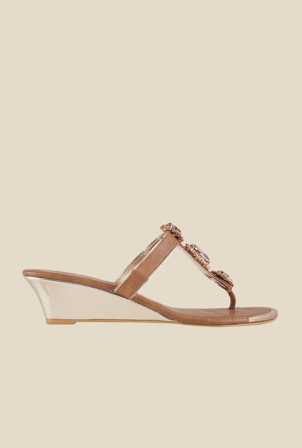 Mochi Brown T-Strap Wedges