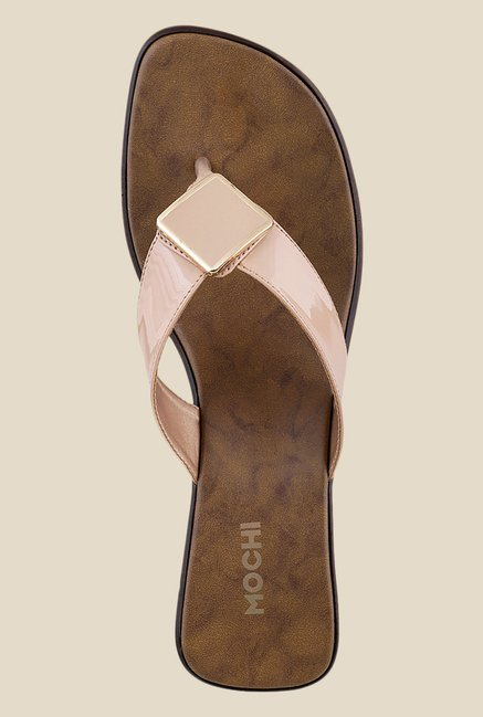 Mochi Beige Wedge Heeled Thong Sandals