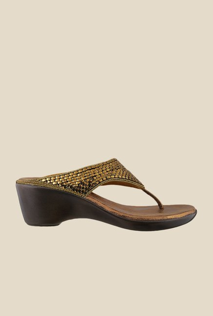 Mochi Golden Wedge Heeled Thong Sandals