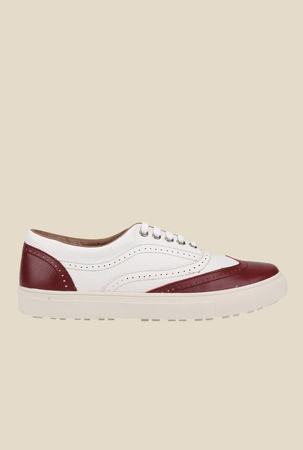 Knotty Derby Alecto Wing Cap White & Cherry Plimsolls