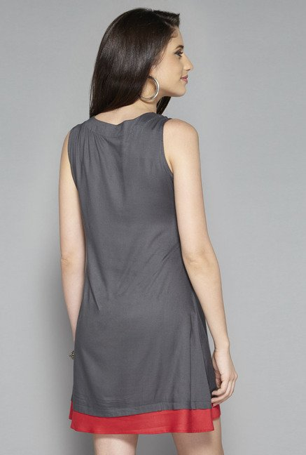Bombay Paisley by Westside Grey Solid Dress