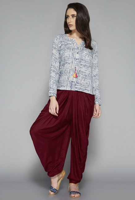 Bombay Paisley by Westside Maroon Solid Dhoti Pant