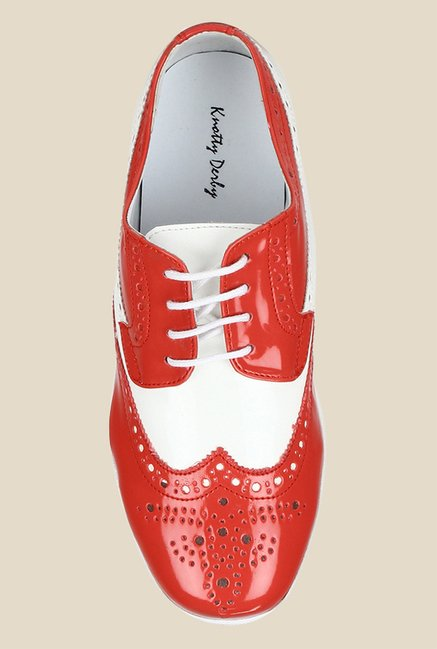 Knotty Derby Susan Red & White Brogue Shoes