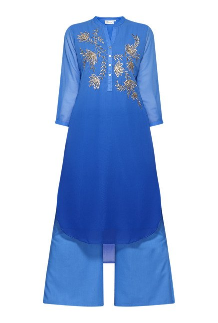 Vark by Westside Blue Embroidered Suit Set