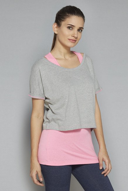 Westsport by Westside Grey Solid T-Shirt