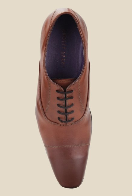 Knotty Derby Arthur Toe Cap Tan Oxford Shoes