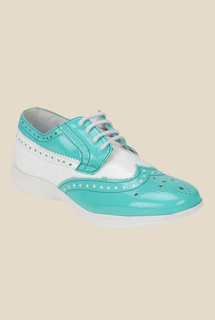 Knotty Derby Susan Turquoise & White Brogue Shoes