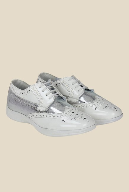Knotty Derby Susan White & Silver Brogue Shoes