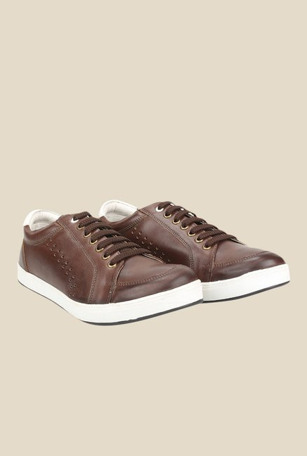 Knotty Derby Carrow Brown & White Plimsolls