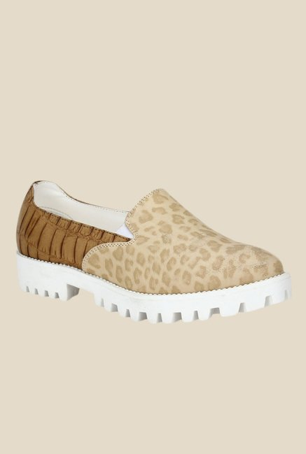 Knotty Derby Ginny Beige & Tan Plimsolls