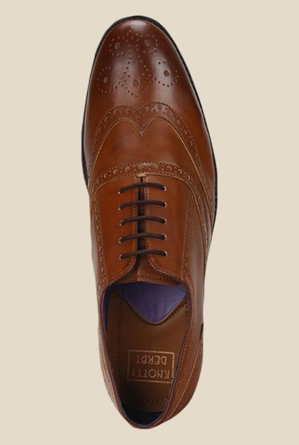 Knotty Derby Lee Wing Cap Tan Brogue Shoes