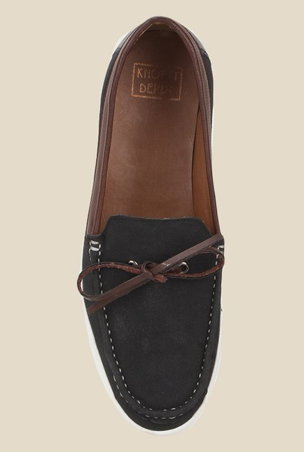 Knotty Derby Terry Summer Black Moccasins