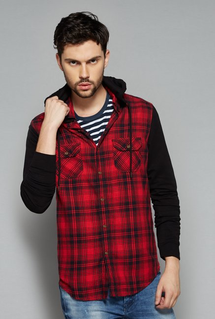 Nuon Men by Westside Red Checks Shirt