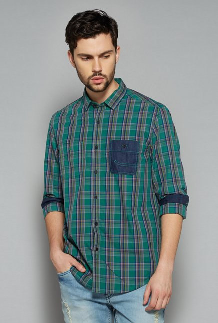 Nuon Men by Westside Green Checks Shirt