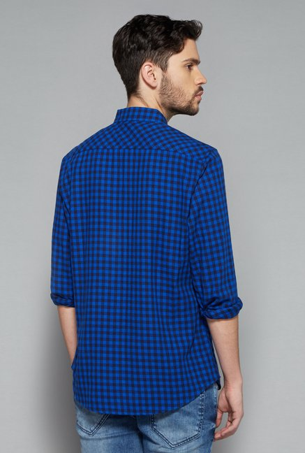 Nuon Men by Westside Blue Checks Shirt