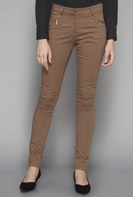 Wardrobe by Westside Taupe Solid Trouser