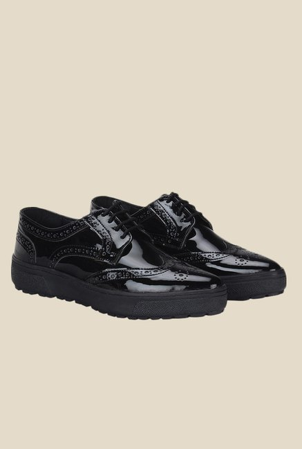 Knotty Derby Alice Black Brogue Shoes