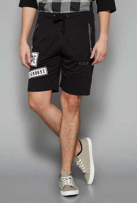 Nuon Men by Westside Black Printed Shorts