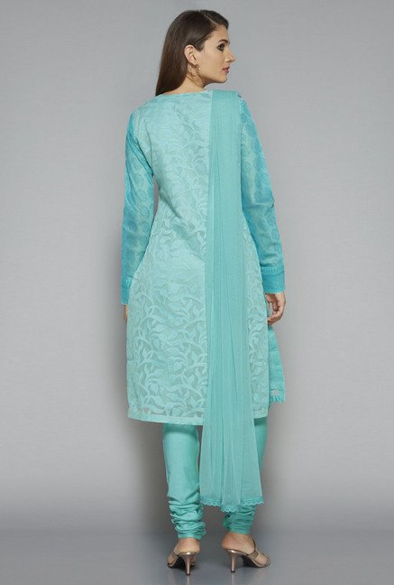 Vark by Westside Teal Embroidered Suit Set