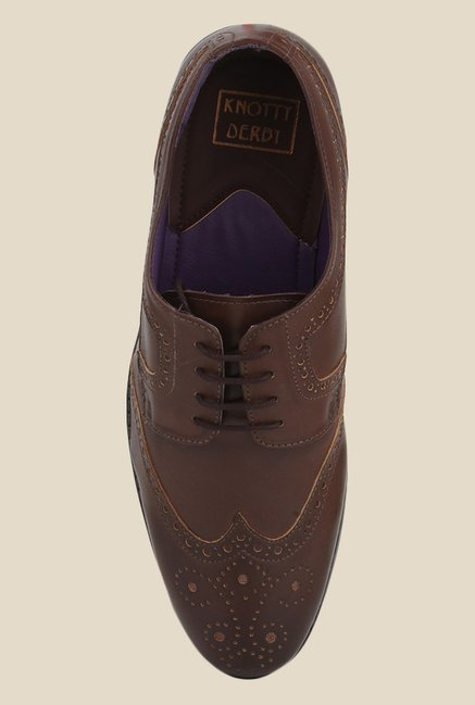 Knotty Derby Oliver Wing Cap Brown Brogue Shoes