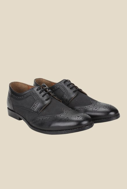 Knotty Derby Oliver Wing Cap Black Brogue Shoes
