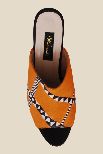 Wearmates Orange & Black Wedges Heeled Sandals