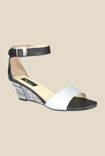 Wearmates Silver & Black Ankle Strap Wedges