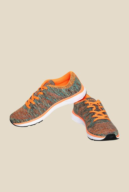 Seven Odin Neutral Grey & Neon Orange Running Shoes