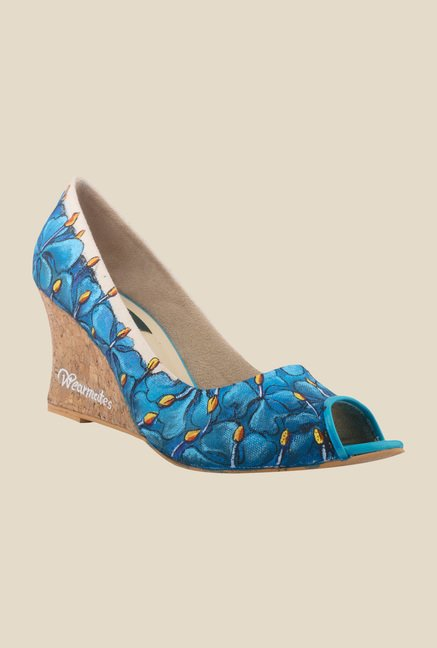 Wearmates Blue Peeptoe Wedges