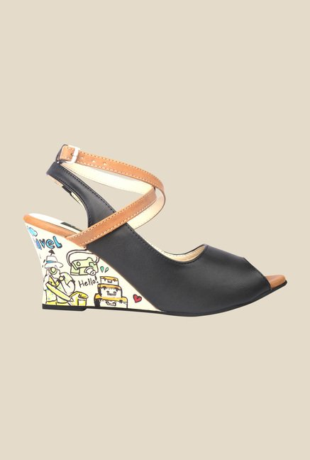 Wearmates Black Back Strap Wedges