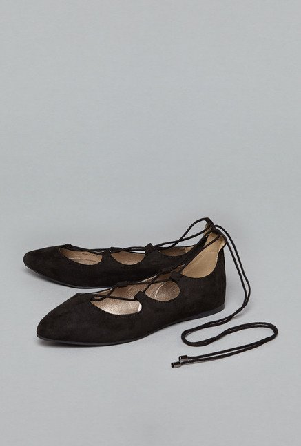 Head Over Heels by Westside Black Flat Shoes