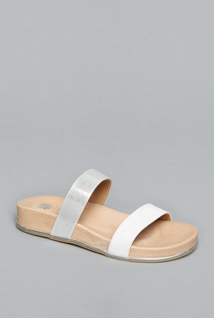 Head Over Heels by Westside White & Beige Slide Sandals