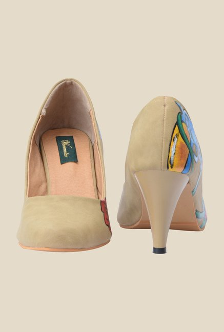 Wearmates Beige & Blue Cone Heeled Pumps