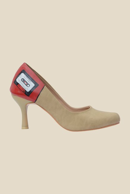 Wearmates Beige & Yellow Stiletto Heeled Pumps