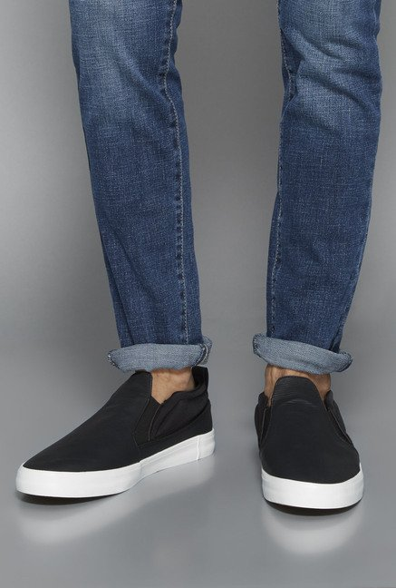 Nuon by Westside Black Slip-On Shoes