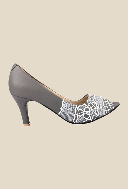 Wearmates Grey Cone Heeled Peeptoe Shoes