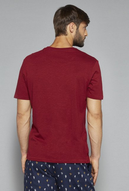 Bodybasics by Westside Maroon Printed T Shirt