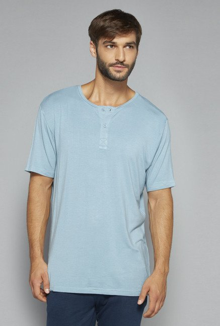 Bodybasics by Westside Teal Solid T Shirt