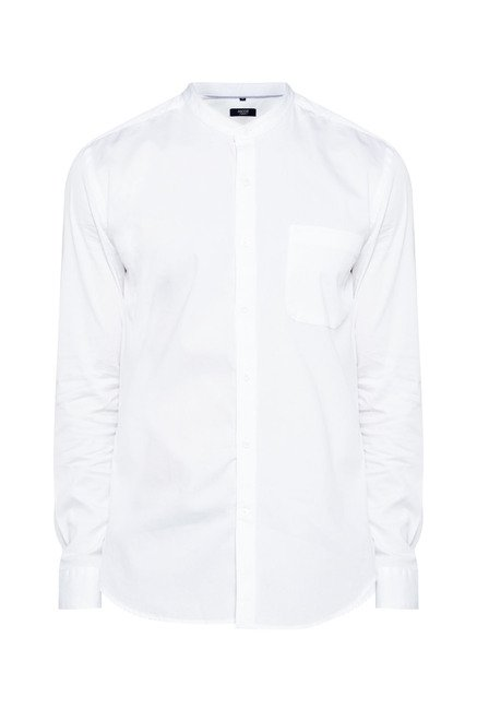 Ascot by Westside White Solid Shirt