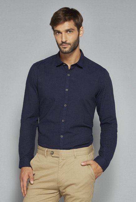 Ascot by Westside Navy Textured Shirt